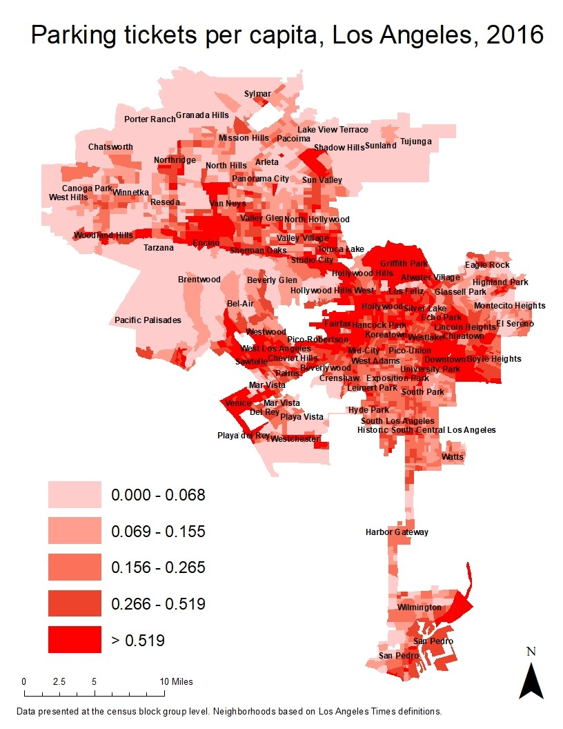 City Of Los Angeles Parking Violation >> The Unequal Spatial Distribution Of City Government Fines The Case